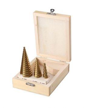 Свредла за ламарина стъпаловидни к-т 3бр дървена кутия
